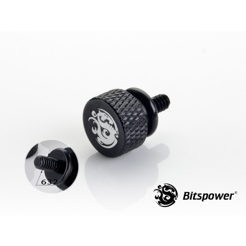 Bitspower Logo Aluminum Thumb Screw For 632 (Black) 4 pcs.